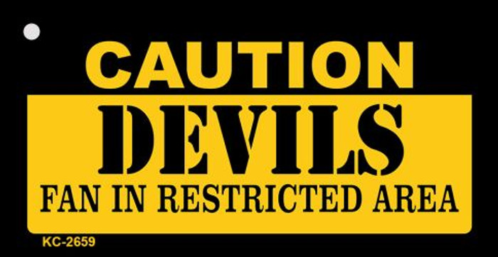 Caution Devils Fan Area Novelty Metal Key Chain KC-2659