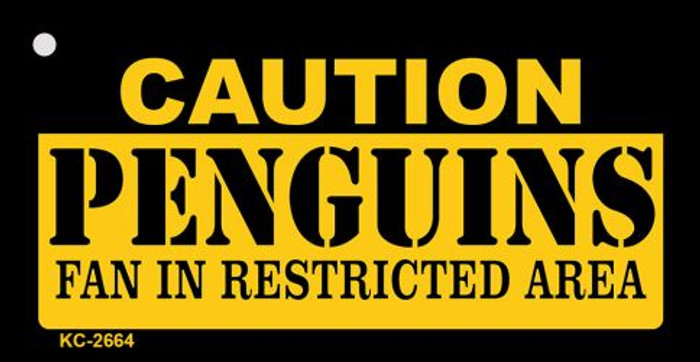 Caution Penguins Fan Area Novelty Metal Key Chain KC-2664