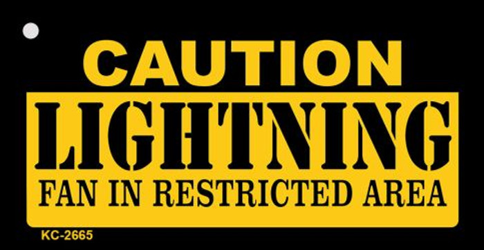 Caution Lightning Fan Area Novelty Metal Key Chain KC-2665