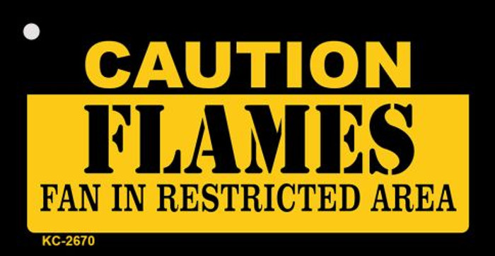 Caution Flames Fan Area Novelty Metal Key Chain KC-2670