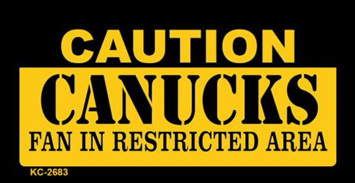 Caution Canucks Fan Area Novelty Metal Key Chain KC-2683