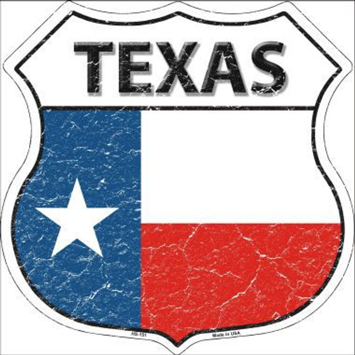 Texas State Flag Highway Shield Metal Sign