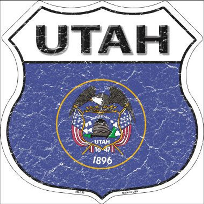 Utah State Flag Highway Shield Metal Sign