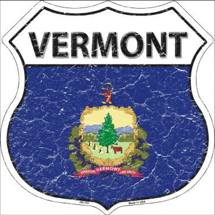 Vermont State Flag Highway Shield Metal Sign