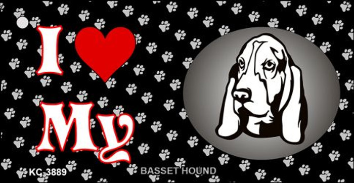I Love My Basset Hound Novelty Metal Key Chain KC-3889