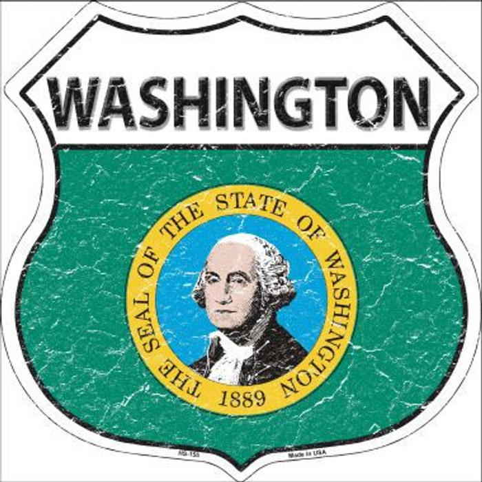 Washington State Flag Highway Shield Metal Sign
