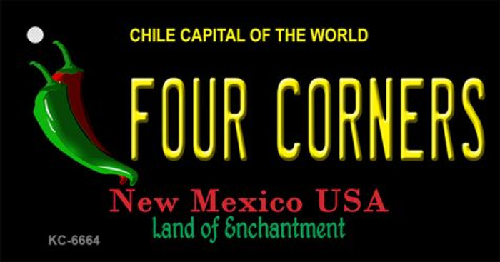 Four Corners Black New Mexico Novelty Metal Key Chain KC-6664