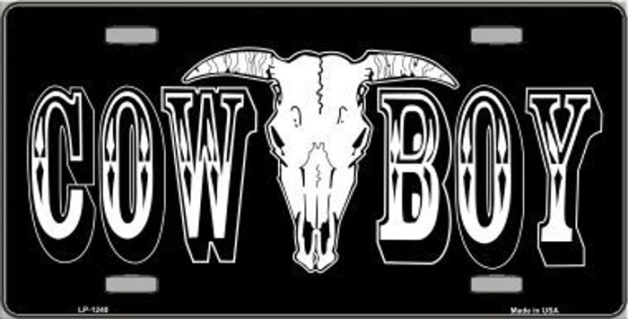 Cowboy Longhorn Skull Novelty Metal License Plate