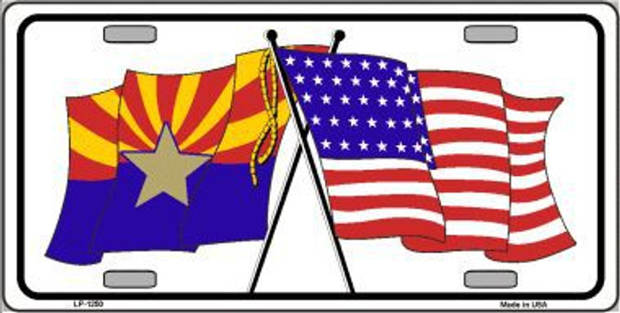 Arizona American Crossed Flags Novelty Metal License Plate