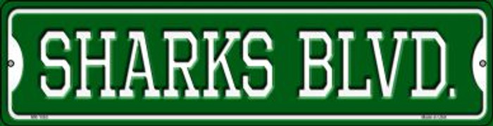 Sharks Blvd Novelty Mini Metal Street Sign MK-1063
