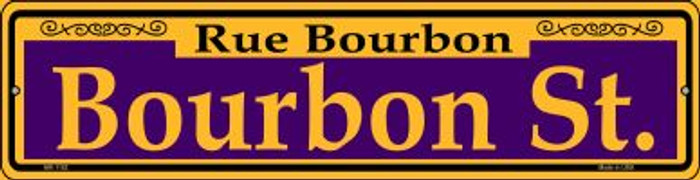 Bourbon St. Purple Novelty Mini Metal Street Sign MK-1162