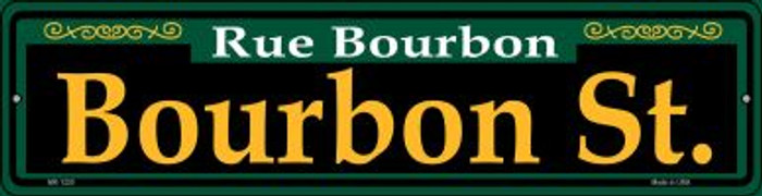 Bourbon St. Green Novelty Mini Metal Street Sign MK-1220