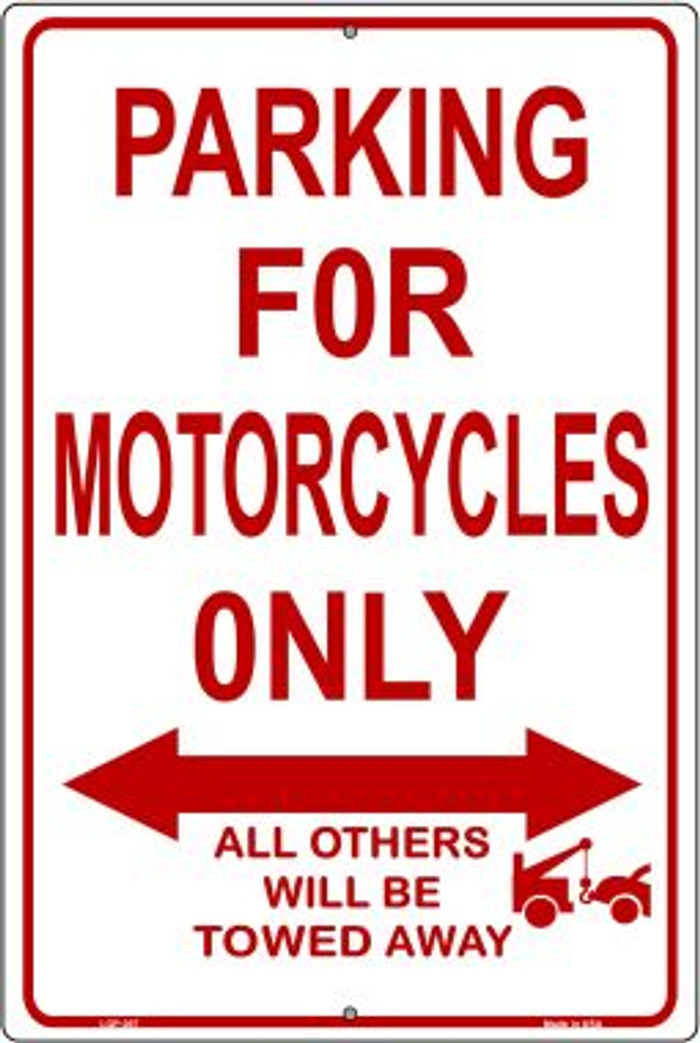 Motorcycle Parking Only Novelty Metal Large Parking Sign LGP-007