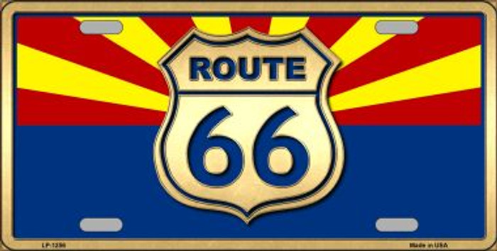 Route 66 Arizona State Flag Novelty Metal License Plate