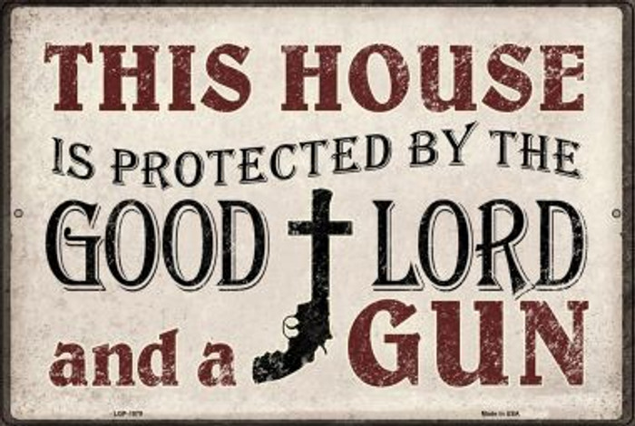 Protected By The Lord And Gun Novelty Metal Large Parking Sign LGP-1078