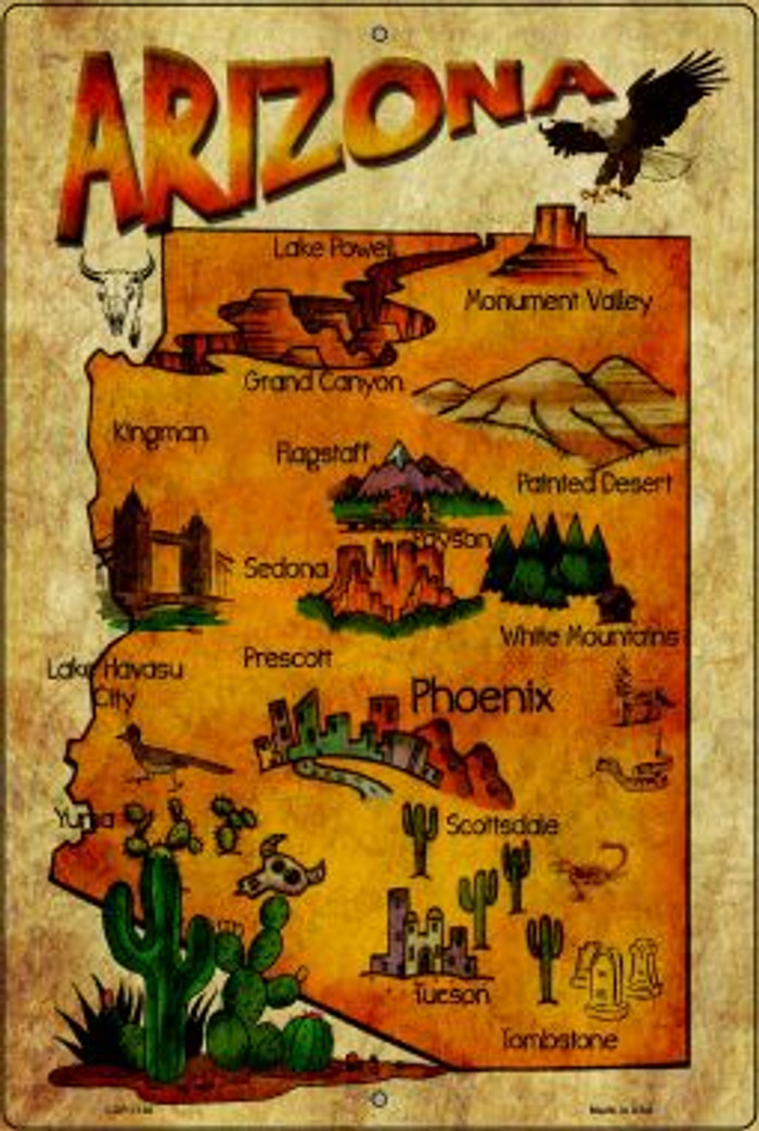 Arizona Map Novelty Metal Large Parking Sign LGP-1136