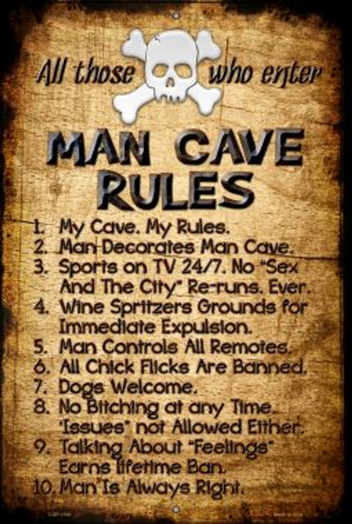 Man Cave Rules Novelty Metal Large Parking Sign LGP-1180