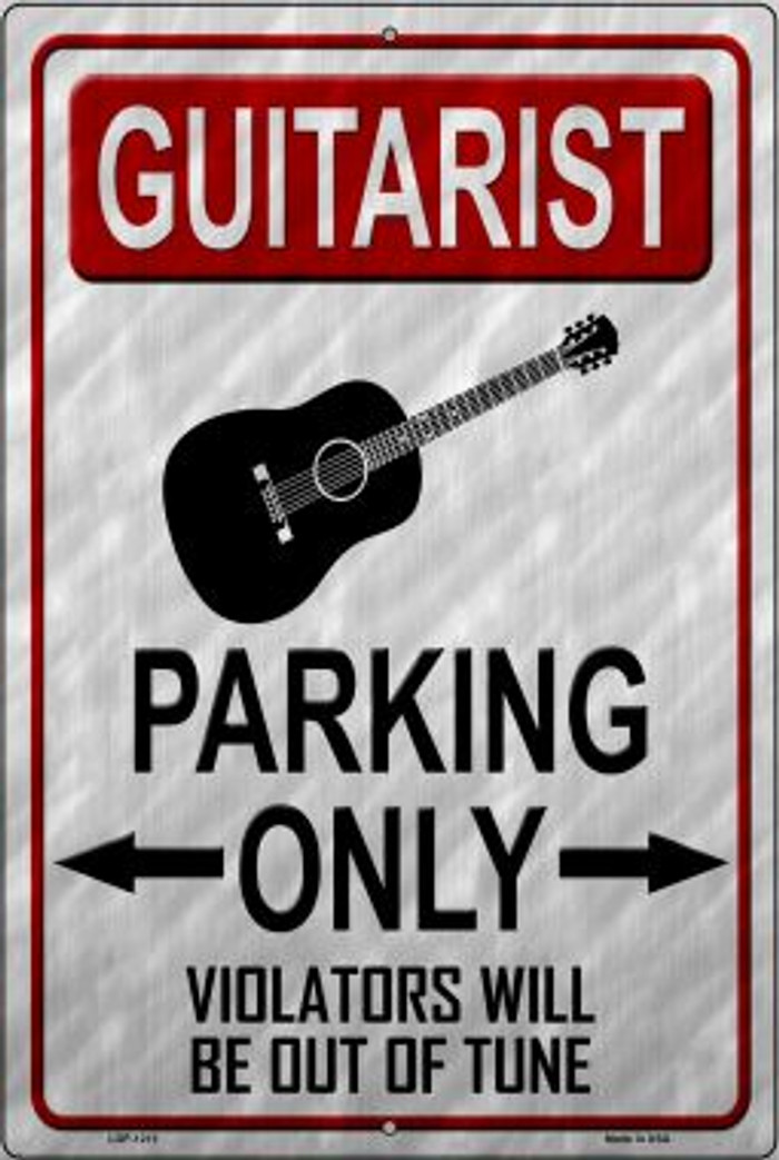 Guitarist Parking Novelty Metal Large Parking Sign LGP-1213