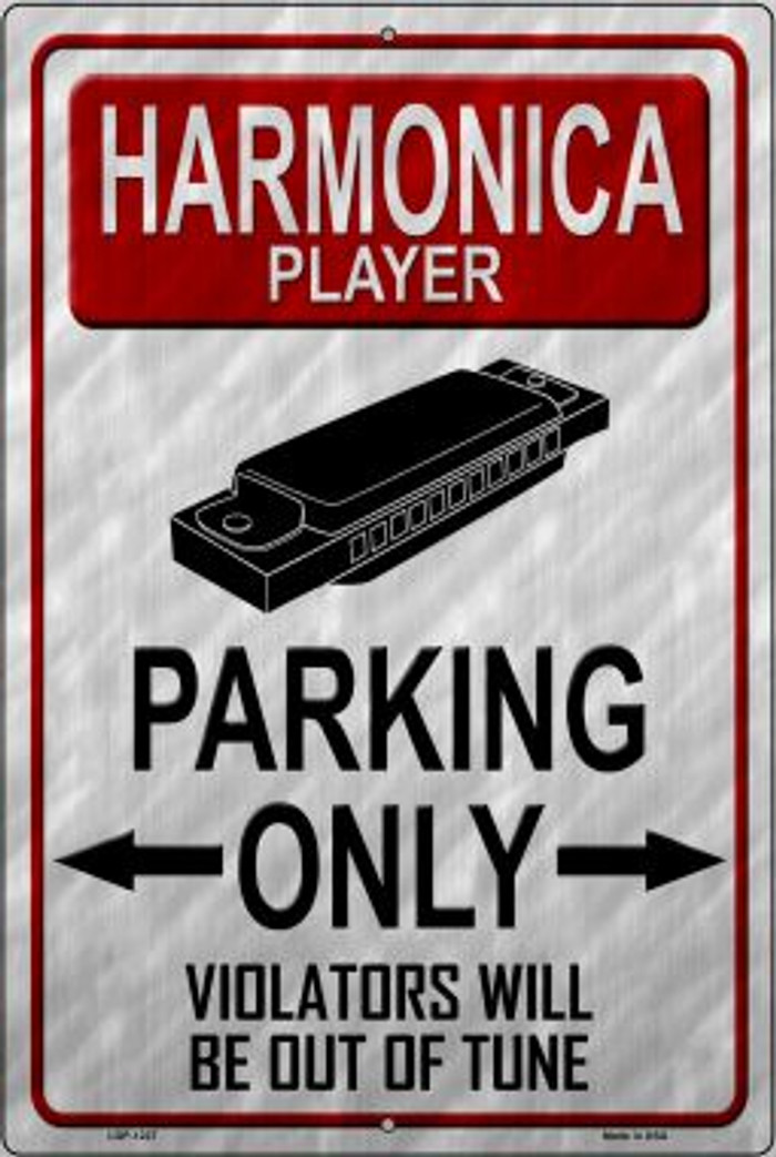 Harmonica Player Parking Novelty Metal Large Parking Sign LGP-1227