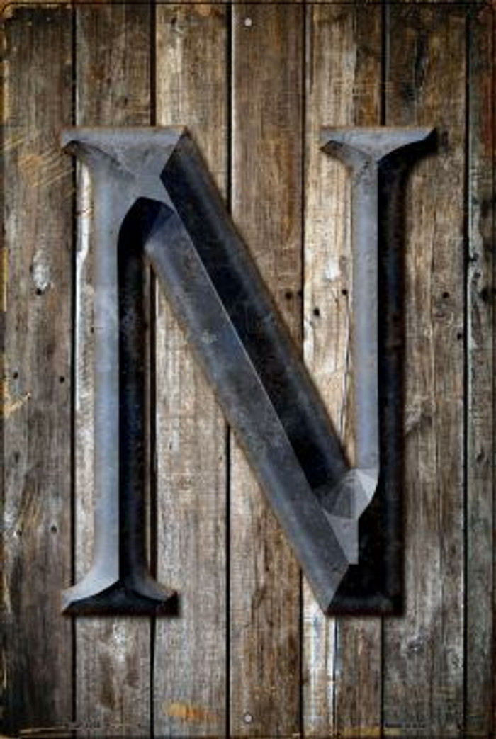 Letter N Novelty Metal Large Parking Sign LGP-1278