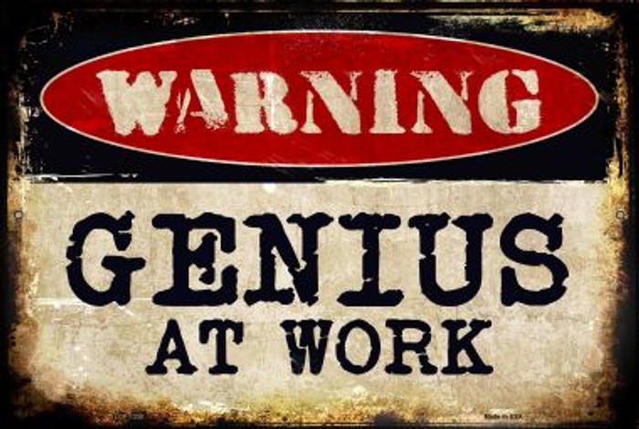 Genius At Work  Novelty Metal Large Parking Sign LGP-1330