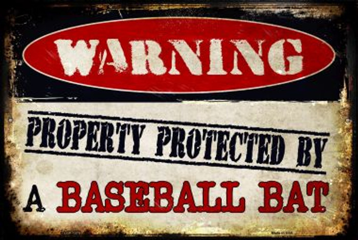 Baseball Bat Novelty Metal Large Parking Sign LGP-1375
