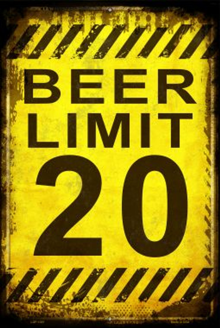 Beer Limit Novelty Metal Large Parking Sign LGP-1381