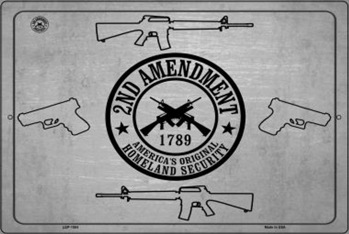 2nd Amendment Shield With Guns Novelty Metal Large Parking Sign LGP-1504