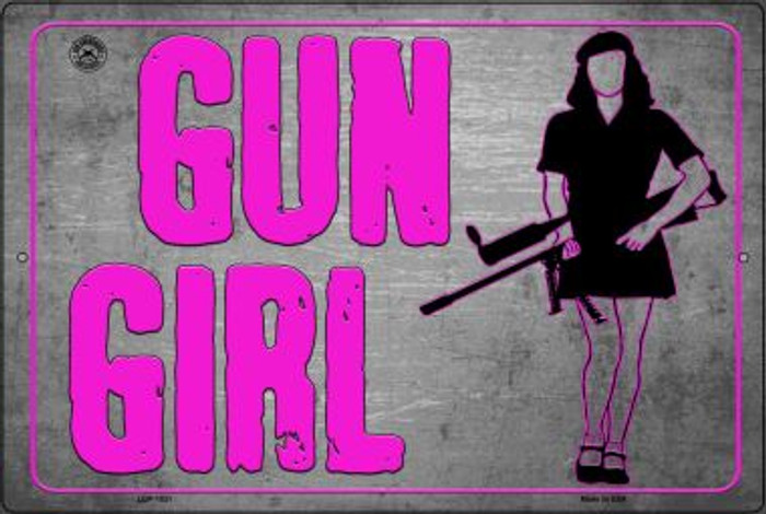 Gun Girl Novelty Metal Large Parking Sign LGP-1531