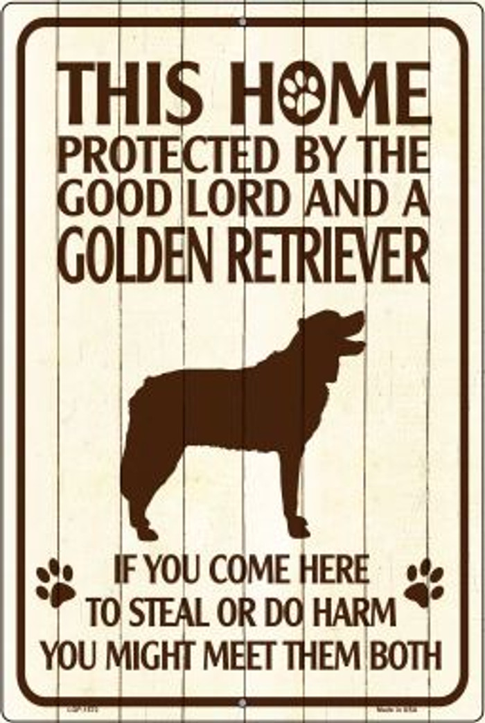Golden Retriever Protected Novelty Metal Large Parking Sign LGP-1572