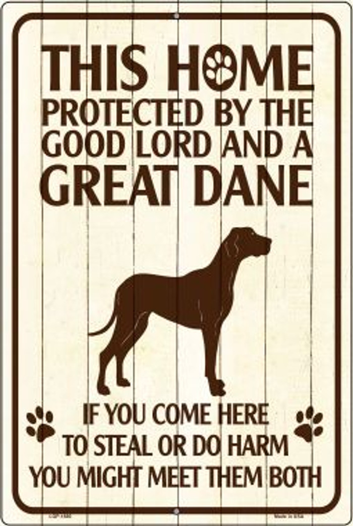 This Home Protected By A Great Dane Novelty Metal Large Parking Sign LGP-1680