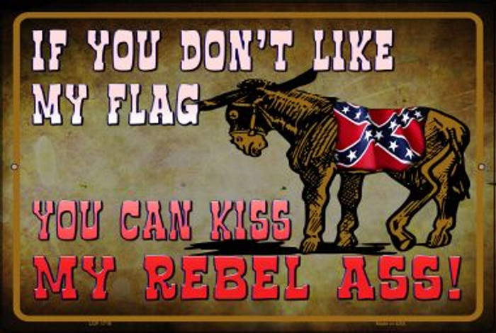 Don't Like My Flag Kiss My Rebel Ass Novelty Metal Large Parking Sign LGP-1716