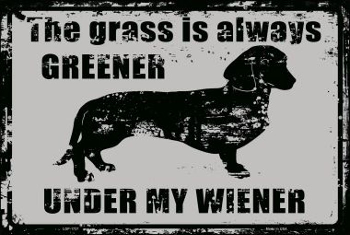 The Grass Is Always Greener Under My Wiener Novelty Metal Large Parking Sign LGP-1727