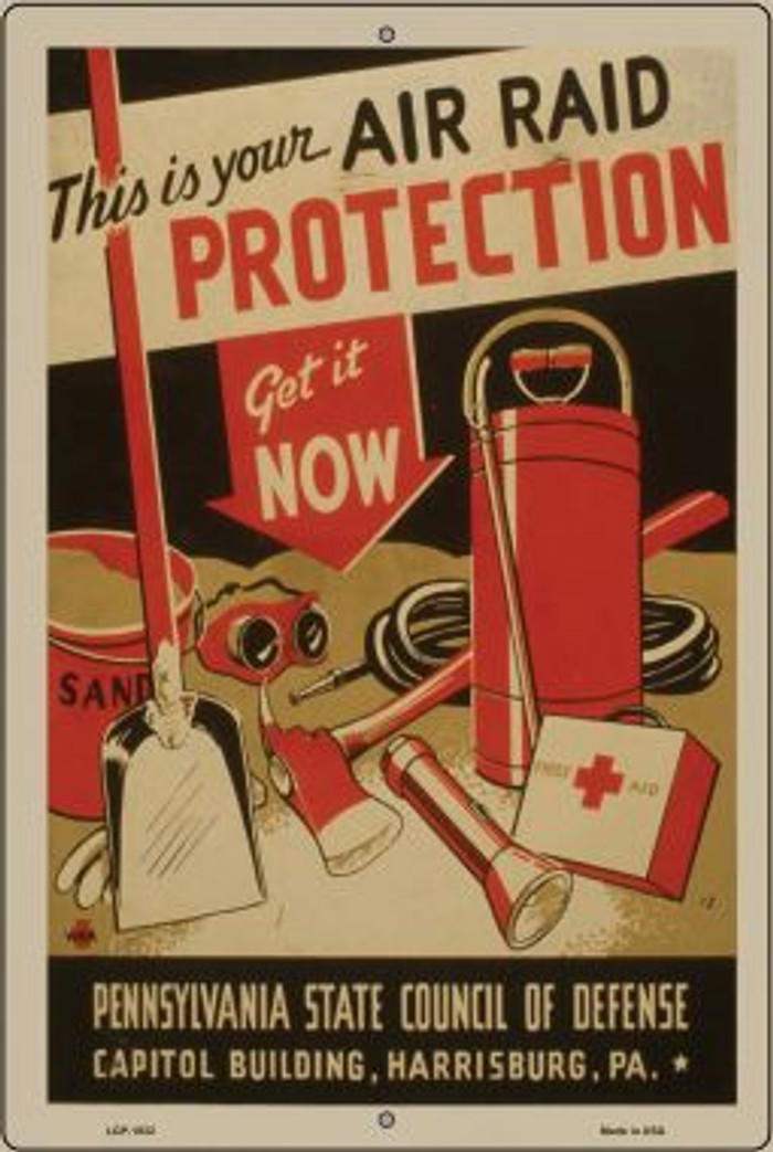 Air Raid Protection Vintage Poster Novelty Metal Large Parking Sign LGP-1932