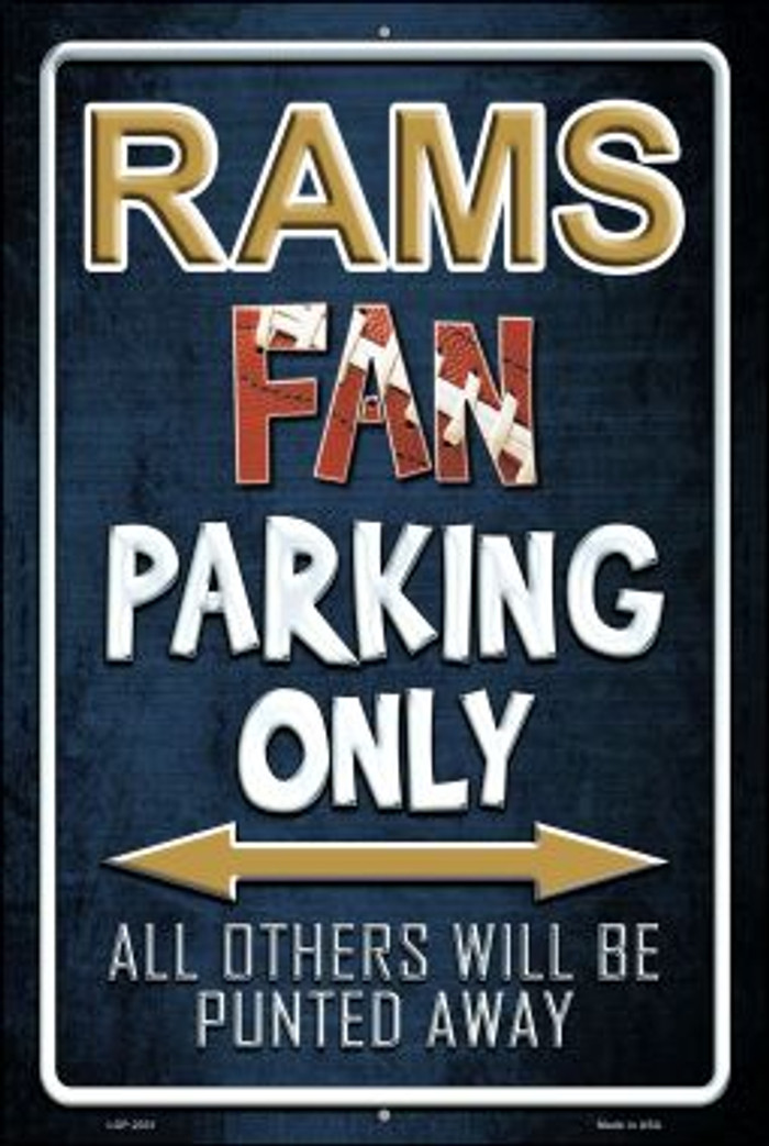 Rams Novelty Metal Large Parking Sign LGP-2031