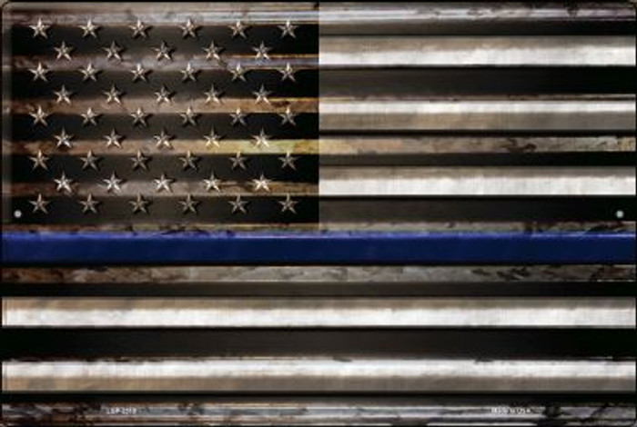 American Flag Thin Blue Line Novelty Metal Large Parking Sign LGP-2310