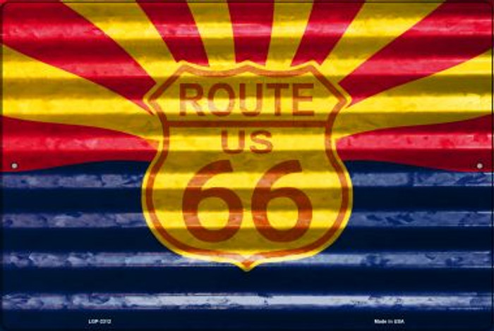 Route 66 Arizona Flag Novelty Metal Large Parking Sign LGP-2312