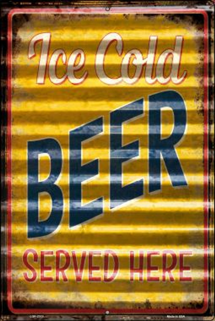 Ice Cold Beer Served Here Novelty Metal Large Parking Sign LGP-2313