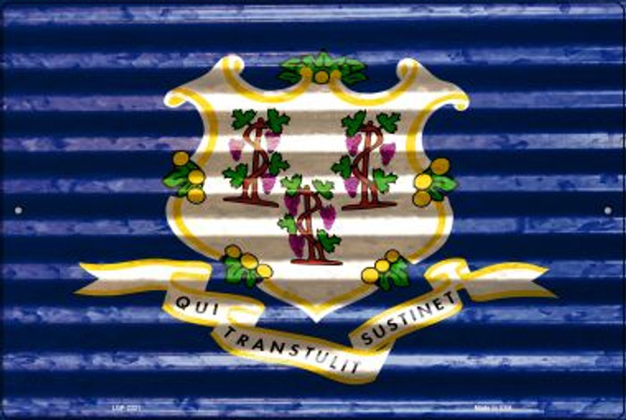 Connecticut Flag Novelty Metal Large Parking Sign LGP-2321