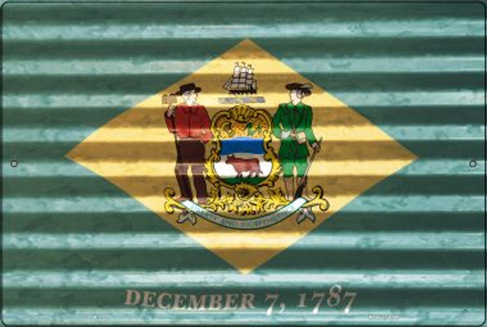 Delaware Flag Novelty Metal Large Parking Sign LGP-2322