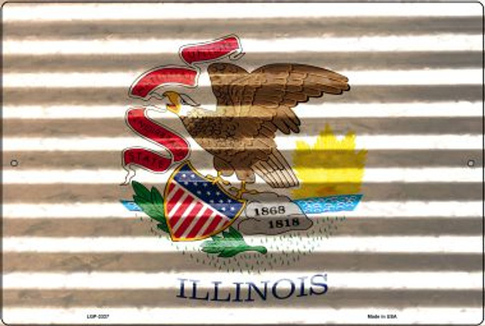 Illinois Flag Novelty Metal Large Parking Sign LGP-2327