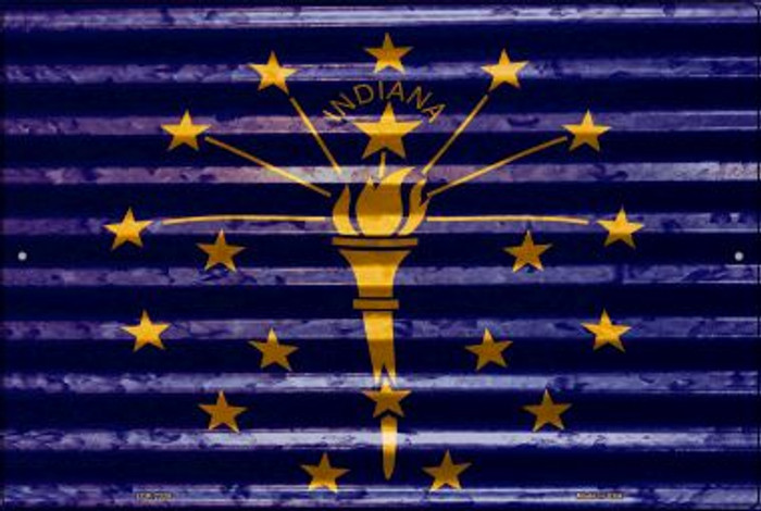 Indiana Flag Novelty Metal Large Parking Sign LGP-2328
