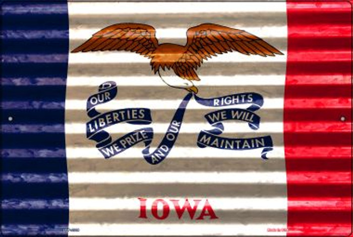 Iowa Flag Novelty Metal Large Parking Sign LGP-2329