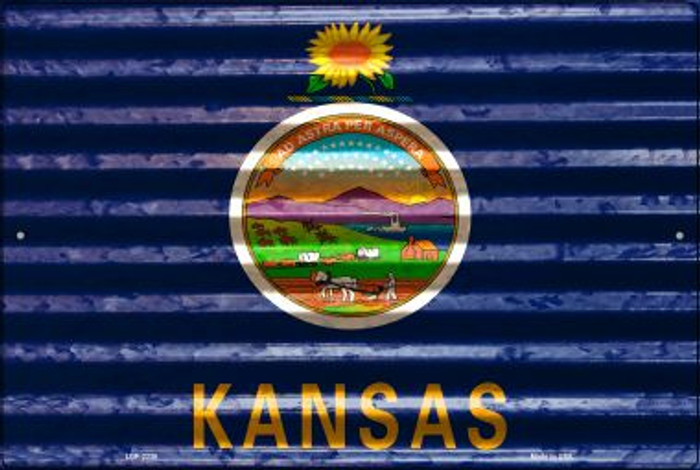 Kansas Flag Novelty Metal Large Parking Sign LGP-2330
