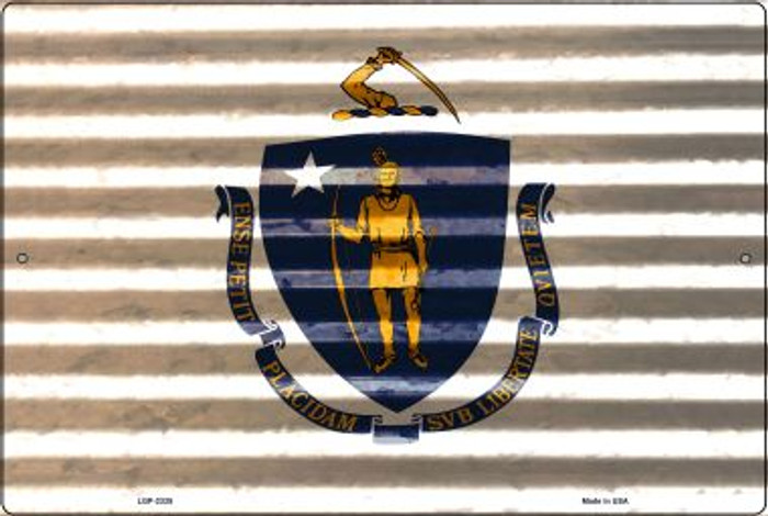 Massachusetts Flag Novelty Metal Large Parking Sign LGP-2335