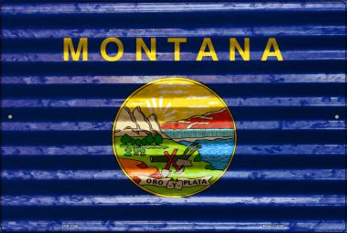 Montana Flag Novelty Metal Large Parking Sign LGP-2340