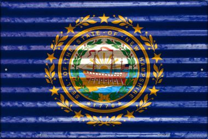New Hampshire Flag Novelty Metal Large Parking Sign LGP-2343