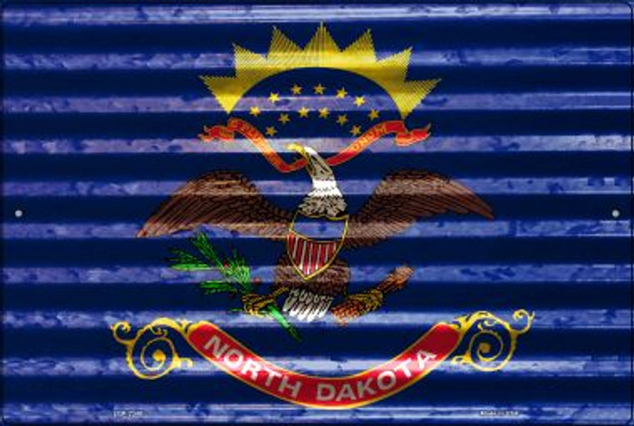 North Dakota Flag Novelty Metal Large Parking Sign LGP-2348