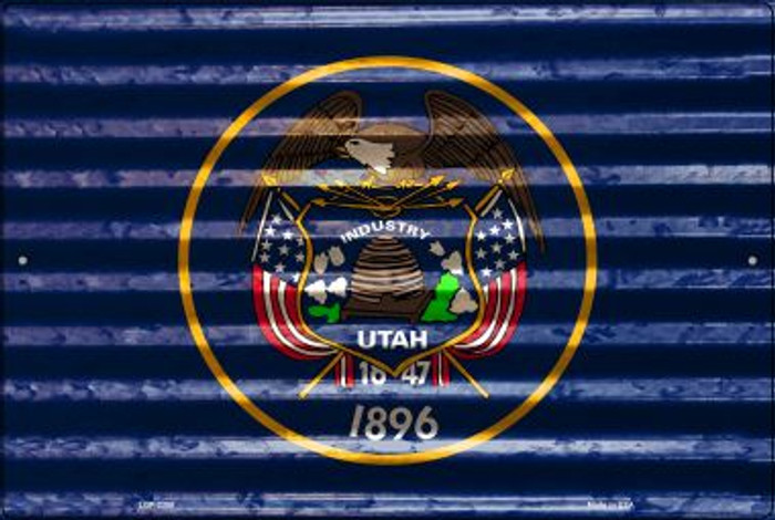 Utah Flag Novelty Metal Large Parking Sign LGP-2358