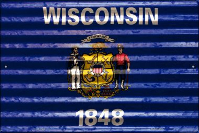 Wisconsin Flag Novelty Metal Large Parking Sign LGP-2363